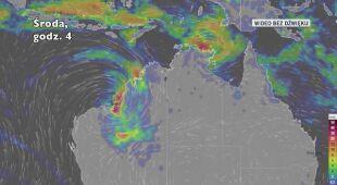 Prognozowana trasa przejścia cyklonu tropikalnego Blake (Ventusky.com)
